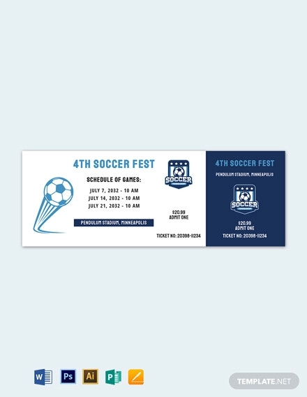 soccer schedule event ticket template
