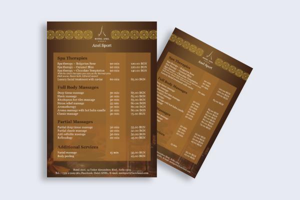 spa services menu