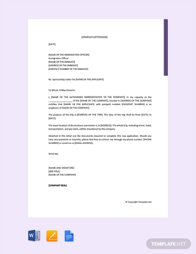 sponsorship letter for visa from company