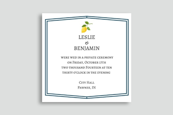 square wedding announcement card