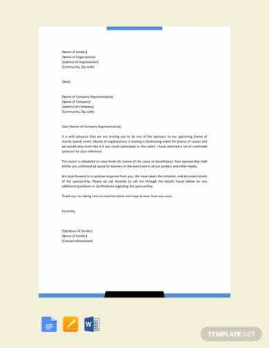 standard sponsorship letter