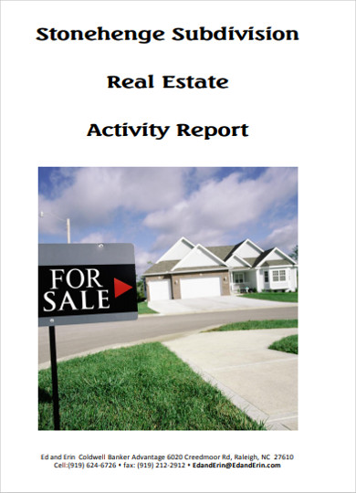 subdivision real estate activity report