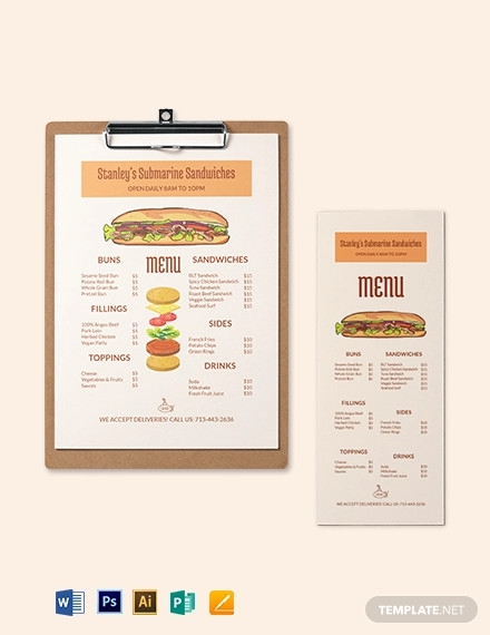 submarine sandwich sub menu template