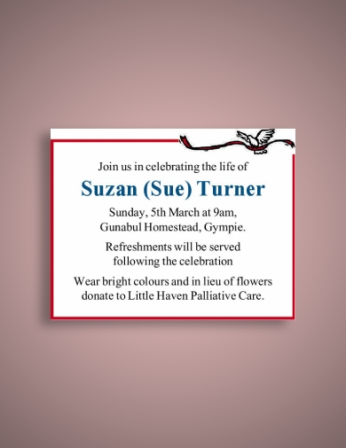sue turner funeral notice