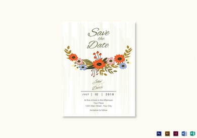 summer floral save the date card