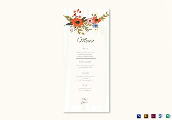 summer floral wedding menu card