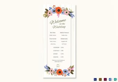 summer floral wedding program card