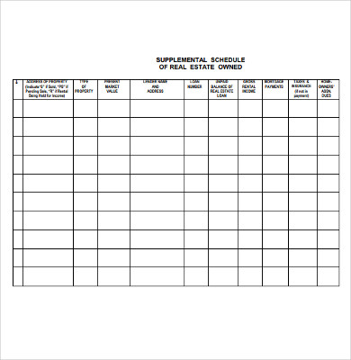 supplemental schedule of real estate owned