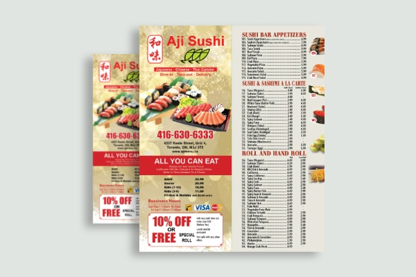 sushi takeout menu