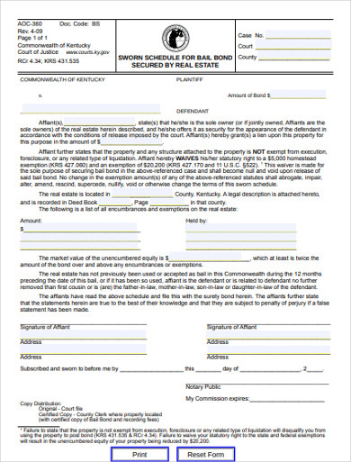 sworn schedule for bail bond secured by real estate