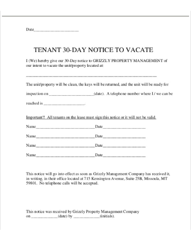 tenant 30 day notice to vacate