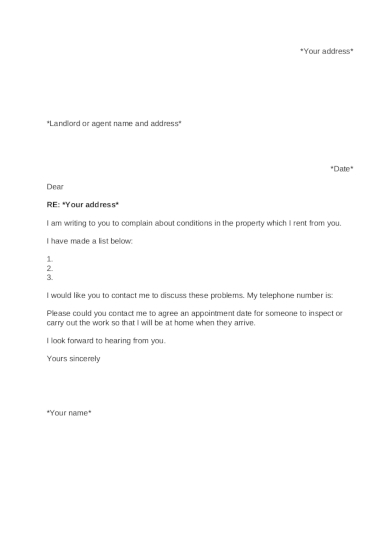 tenant complaint letter about rented property