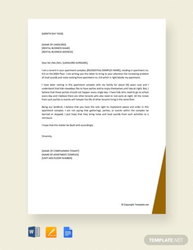 tenant complaint letter about noise