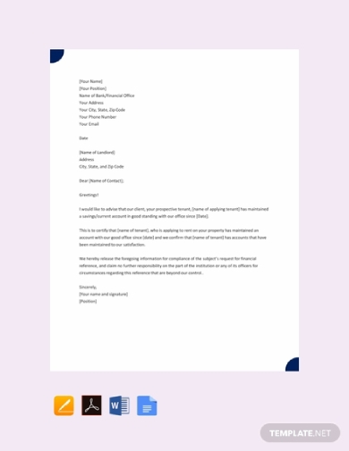 tenant financial reference letter for landlord