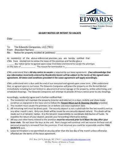 tenants 60 day notice of intent to vacate