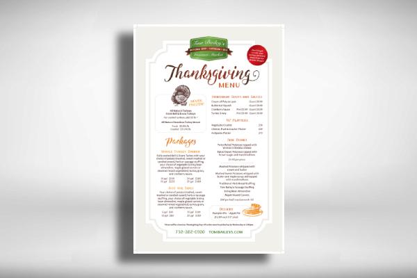 thanksgiving holiday menu