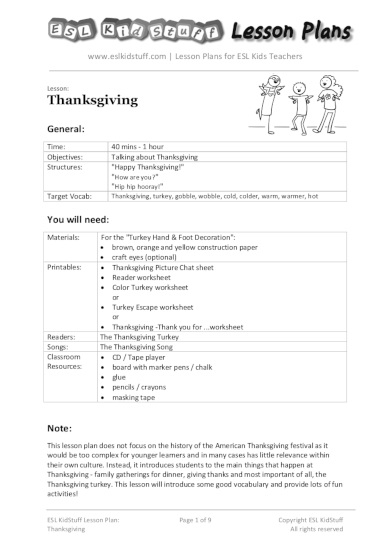 thanksgiving lesson plan for kids