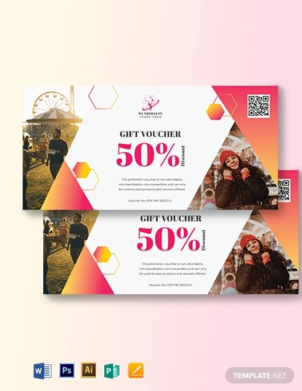 themepark sports voucher template