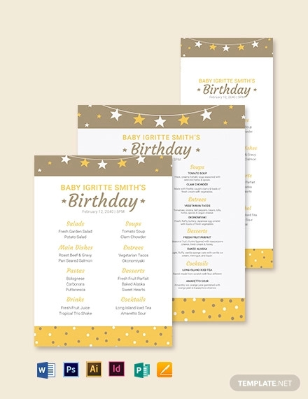 toddler birthday menu template