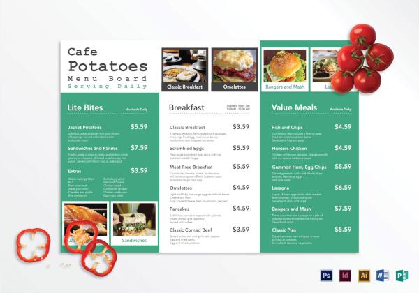 tri fold cafe menu board