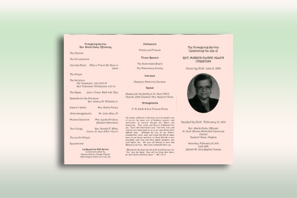 trifold funeral church program