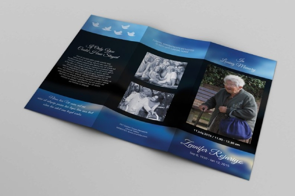 trifold obituary program