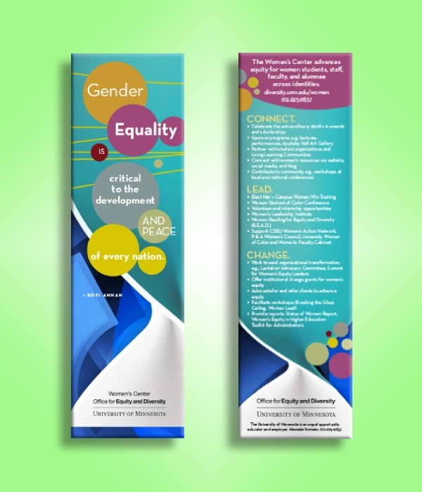 university gender equality campaign bookmark