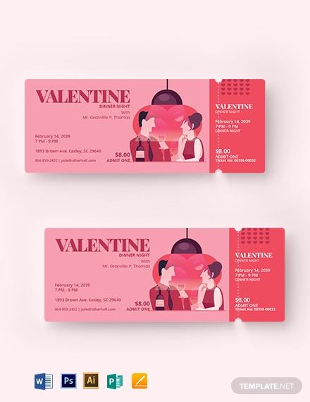 valentine dinner ticket template