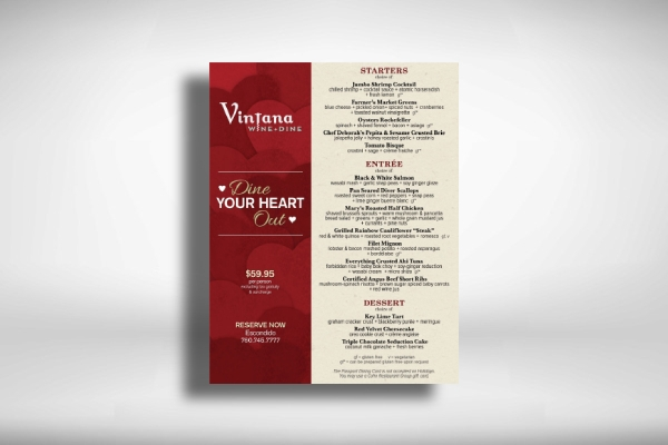 valentines day holiday menu