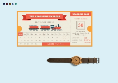 vector train travel ticket