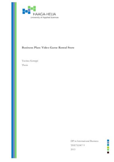 video game rental business plan