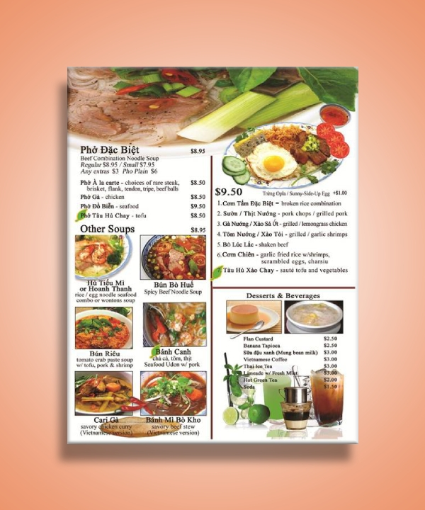 vietnamese food menu