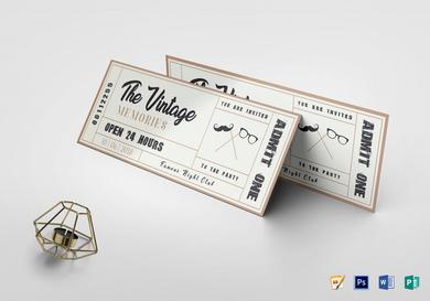 vintage admit one event ticket