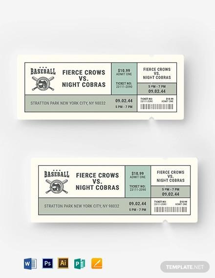 vintage baseball ticket template