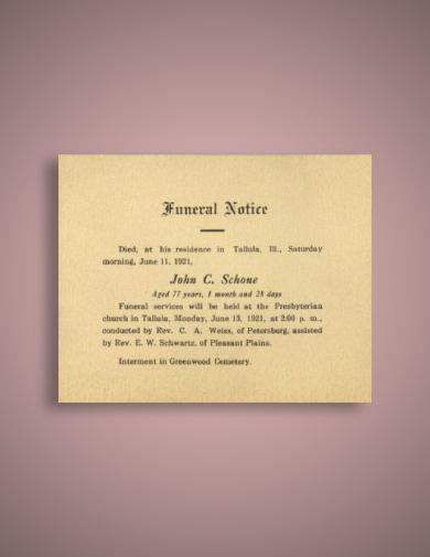vintage funeral notice