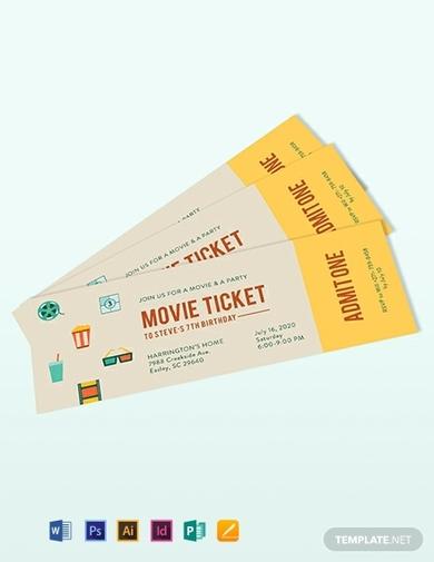 vintage movie ticket invitation