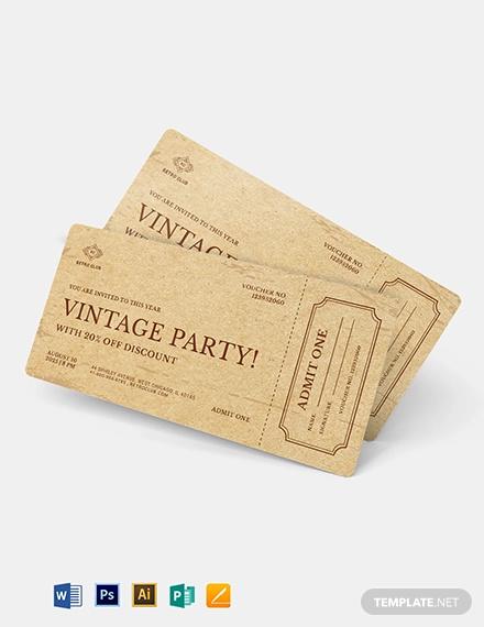 vintage ticket voucher template