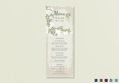 vintage wedding menu card