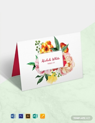water color flowers wedding place card