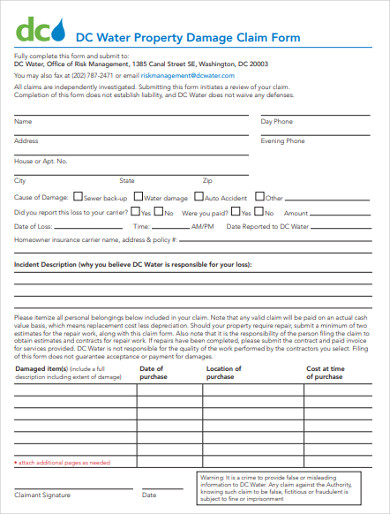 water property damage claim report form