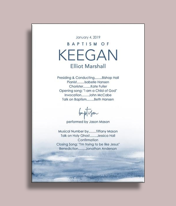 watercolor blue baptism menu