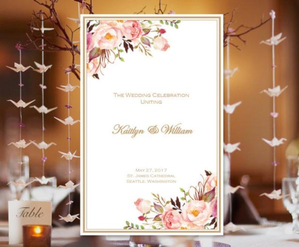 watercolor flowers catholic wedding program