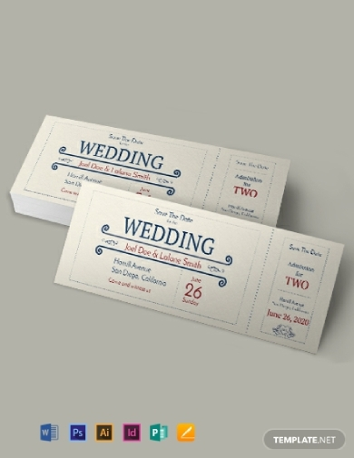 wedding admission ticket