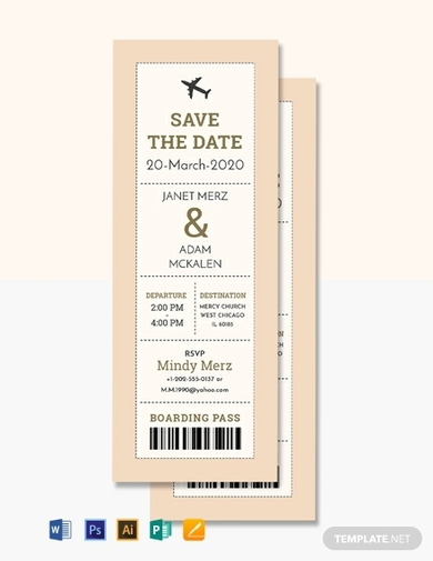 wedding boarding pass ticket invitation