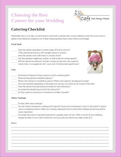 wedding catering checklist