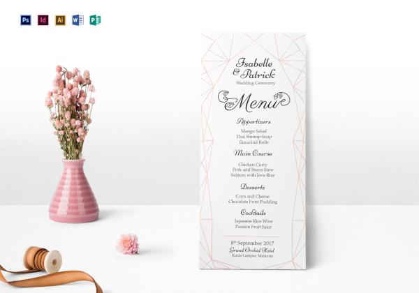 wedding ceremony menu