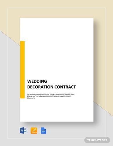 wedding decoration contract