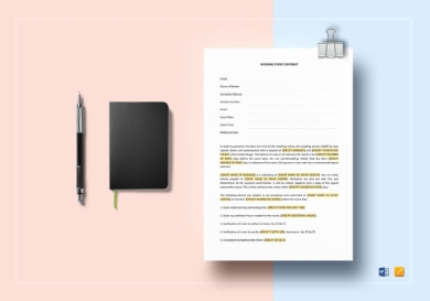 wedding event contract