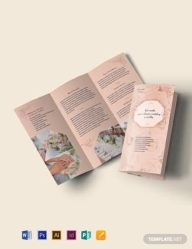 wedding event planner tri fold brochure