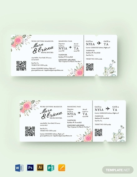 wedding invitation airline ticket template